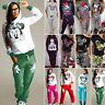 Damen Mickey Mouse Winter Trainingsanzug Jogginghose Pullover Top Sport Anzug DE