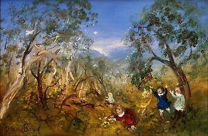 "David Boyd titled ""The Apple Tree on the Edge of Bush"" Artwork Oil on Board"
