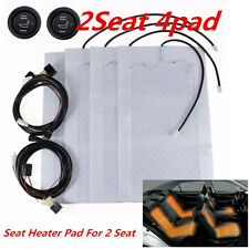 2Seat 12V Carbon Fiber Car Seat Heater Pads High/Low Round Switch Heater Warmer