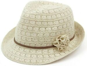Womens Crushable Lace Trilby Ladies Summer Sun Hat Light Weight Holiday Packable