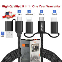 5-in-1 Type-C, LIGHTNING, Micro, USB Data Cable with FAST Charging, High Quality