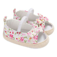 Toddler Baby Girls Floral Bow Open Toed Crib Shoes Canvas Princess Baby Shoes D