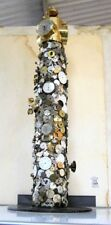 """VINTAGE HAND MADE UNIQUE STATION: CLOCKS,COINS,WATCHES;ETC.32"""" H X 12"""" D 30 LBS"""