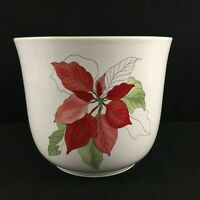 VTG Cachepot Flower Holder by Block Watercolors Poinsettia Christmas Portugal
