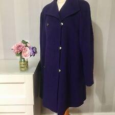 Jacques Vert Purple Wool/Cashmere Blend Coat Size 12 smart