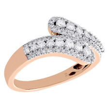 Right Hand Cocktail Ring 1/2 Ct. 10K Rose Gold Graduated Diamond Bypass Designer