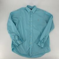 Ralph Lauren Mens Feather Weight Twill Shirt Long Sleeve Size L Blue Casual Polo
