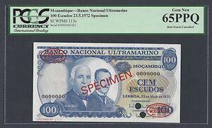 Mozambique Portuguese 100 Escudos 23-5-1972 P113s Specimen TDLR Uncirculated
