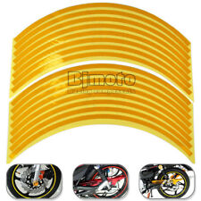 "18"" 16 Strips Reflective Motorcycle Car Rim Stripe Wheel Decal Tape Sticker Gold"