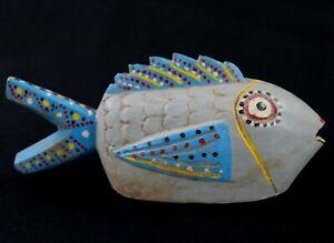 Art Africain - Masque Marionnette Poisson Bozo en Bois African Fish - 26,5 Cms