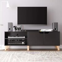 55 in Modern TV Stand w/ 2 Doors & Shelves Stylish Console Media Storage Cabinet