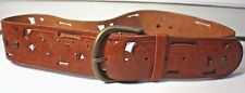 Vintage 1980's Fossil Leather Tooled Openwork Floral Design Belt Tan Brown