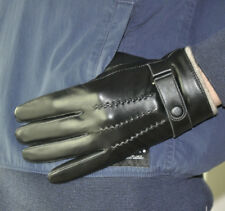 Men's Deluxe Genuine Lamb Leather Touch Screen Wrist Gloves 3 Lines Black Brown