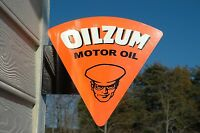 OLD STYLE OILZUM GAS & OIL MOTOR STEEL FLANGE SIGN USA MADE THICK STEEL MINT