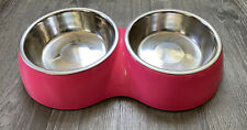 Bowlmates Pink Double Round Base - Medium 3C Each - with Stainless Steel Bowls