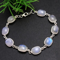 Oval Rainbow Moonstone 925 Sterling Silver Solid Bracelet Women Jewelry 7.5""