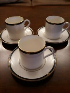 Royal Worcester Carina Blue 3 Coffee Cups & Saucers. Very Good Condition