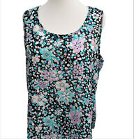 Womens Tunic Sleeveless Tops Ditsy Floral Print  Plus Size 18/20-22/24-26/28 NEW