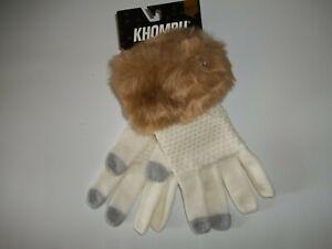 KHOMBU Winter TECH Touch SCREEN Faux Fur Cuff Knit GLOVES Womens One Size NEW
