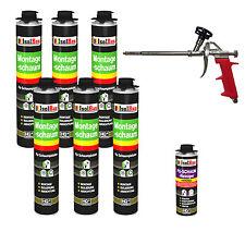 SET Pistolenschaum 6 x 750 ml + 1  Metall Schaumpistole + 1 Reiniger Bauschaum