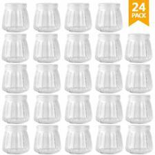 24 Piece 4 OZ Glass Jar Yogurt Pudding Jars w/ Lid Glass Containers / PE Cap NEW