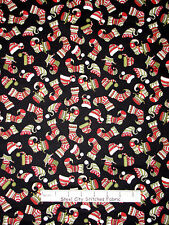 Christmas Fabric - Winter Hats and Holiday Stocking Toss RJR Holly Jolly - Yard