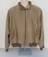 Orvis Leather Suede Bomber Jacket Men XL Plaid Lining