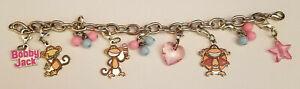 Original Bobby Jack Monkey Charm Bracelet Pink Star Heart Silver Tone Girls Blue