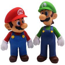 """2x Super Mario Bros. Brothers Mario Luigi PVC Action Figure Toys Xmas Gift 9-10"""""""