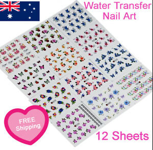 12 Sheets Assorted Nail Art Water Transfer Stickers Flowers Butterflies Feathers