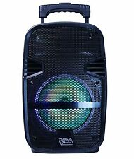 "Fully Amplified Portable 1600 Watts Peak Power 8"" Speaker w/ LED & Mic - Black"