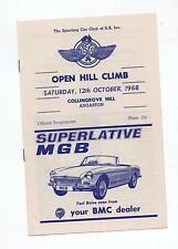 1968 Collingrove Hill Climb Programme Production Touring Racing Sports