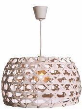 LAMPARA COLGANTE 35cm MADERA NATURAL  BLANCO LUZ SALON DORMITORIO COMEDOR
