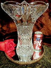 "FABULOUS 12""T UNIQUE 10"" W FLAIR TOP Crystal Glass Vase GREAT DESIGN!"
