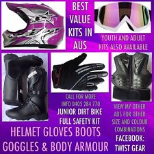 Peewee Jr Kids Dirt Bike Motocross Boots Chest Plate Goggles Purple Helmet