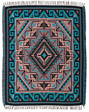 #5000 Woven Blanket Native American Southwest Reversible Accent Throw Teal 4'x5'