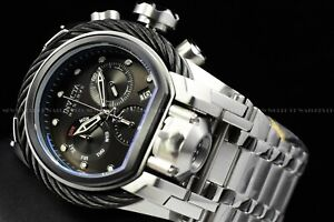 Invicta Men 52mm Bolt Zeus MAGNUM Black Silver Chrono Dual Time Swiss Watch