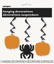 3 Halloween Hanging Swirl Decorations Pumpkin Spider Party Spooky Indoor Outdoor