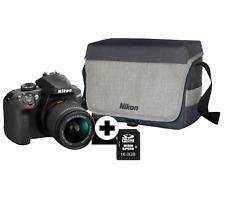 Nikon D3400 Spiegelreflexkamera - Schwarz (Kit mit 18-55mm AF-P Objektiv, Tasche und 16GB Speicherkarte)