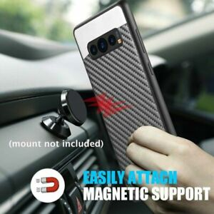 For Samsung Galaxy S9+ S10 Note 9 - Magnetic BLACK Carbon Fiber Hard Rubber Case