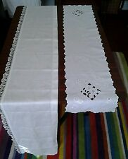 ANTIQUE WHITE PELMET RUNNER & WHITE COTTON CUTWORK TABLE RUNNER
