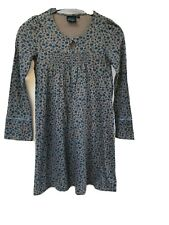 MINI BODEN GREY BLUE FLORAL LONG SLEEVE DRESS 8-10 YEARS COTTON MODAL