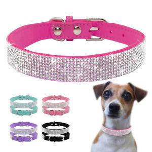 Bling Rhinestone Dog Collar Cat Puppy Suede Leather Collar Soft Pet Collar XS-M