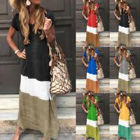 Women Tie-Dye Color Block Loose V Neck T-Short Sleeve Shirt Maxi Dress Plus Size