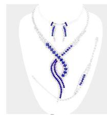 Royal Blue Silver Crystal Rhinestone Formal Necklace Jewelry Set Earring Bridal