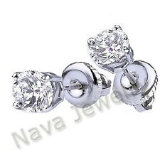 1.10 Ct. Round Brilliant Cut Diamond Stud Earrings Natural 14k Gold-White