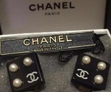 5b43dd00e97b CHANEL Authentic Earrings FROM THE RUNWAY BLACK RESIN Unique CC & PEARL