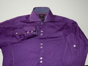 Absolute Rebellion Men's Purple Long Sleeve Button Front Shirt Size M Medium