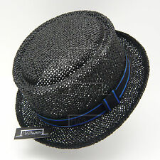 VINTAGE Straw Pork Pie Top Hat Men Women Crushable Fedora | 57cm | Black Brown