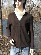 """'S MAX MARA JACKET M BUST 38"""" CHOCOLATE BROWN GOAT SUEDE FRONT + SPANDEX 3%"""